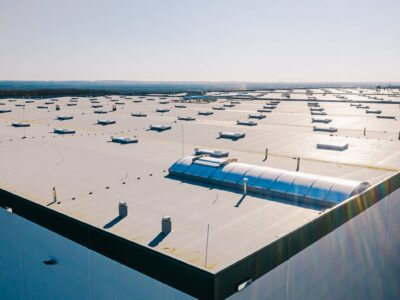 This is an image of a large commercial building roof.